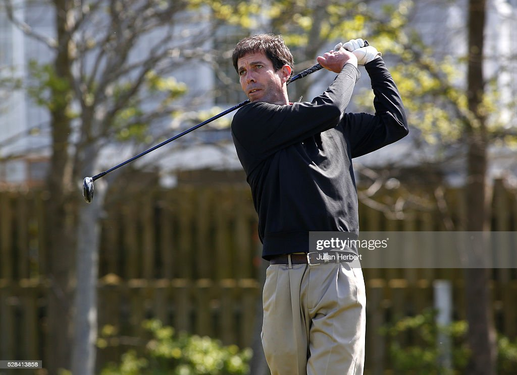 Richard Sadler of Killiow Golf Club plays his first shot on the 1st tee during the PGA Professional Championship - West Qualifier at Burnham And Berrow Golf Club Club on May 5, 2016, in Burnham-On-Sea, England.