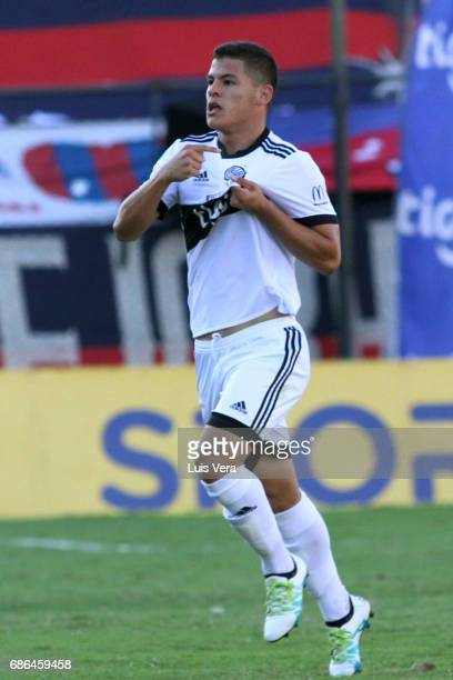 Richard Sanchez of Olimpia celenbrates after scoring the first goal of his team during a match between Olimpia and Cerro Porteño as part of the 17th...