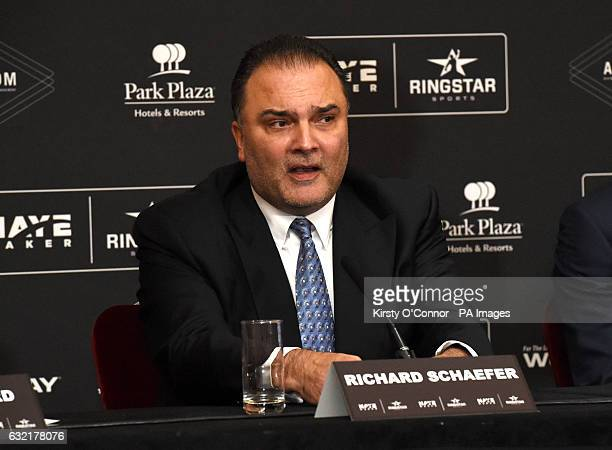 Richard Schaefer during a press conference to announce the launch of Haymaker Ringstar at the Park Plaza hotel London PRESS ASSOCIATION Photo Picture...