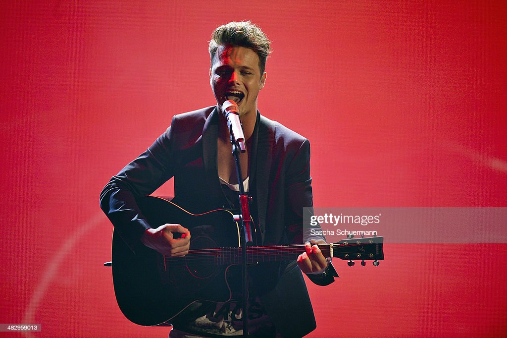 Richard Schloegl performs at the rehearsal for the 2nd 'Deutschland sucht den Superstar' (DSDS) show at Coloneum on April 5, 2014 in Cologne, Germany.