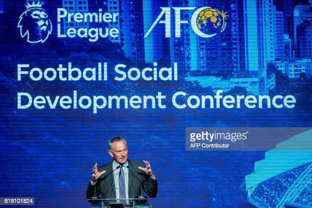 Richard Scudamore executive chairman of the English Premier League speaks at a football social development conference in Hong Kong on July 20 2017...