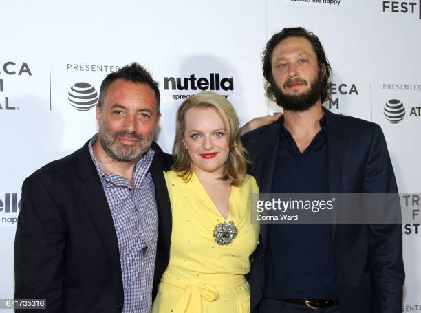 Richard Shepard Elizabeth Moss and Ebon MossBachrach attend Tribeca Shorts 'Tokyo Project' premiere at Regal Battery Park Cinemas on April 22 2017 in...
