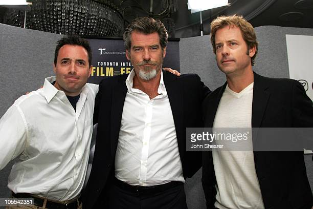 Richard Shepard Pierce Brosnan and Greg Kinnear during 2005 Toronto Film Festival 'The Matador' Press Conference at Sutton Place in Toronto Canada