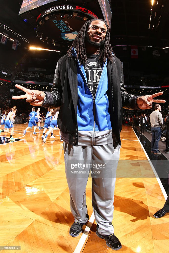 Richard Sherman of the Seattle Seahawks at halftime during a game at Barclays Center in Brooklyn.
