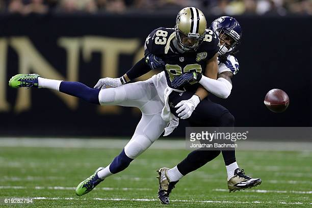 Richard Sherman of the Seattle Seahawks breaks up a pass intended for Willie Snead of the New Orleans Saints during the first half of a game at the...