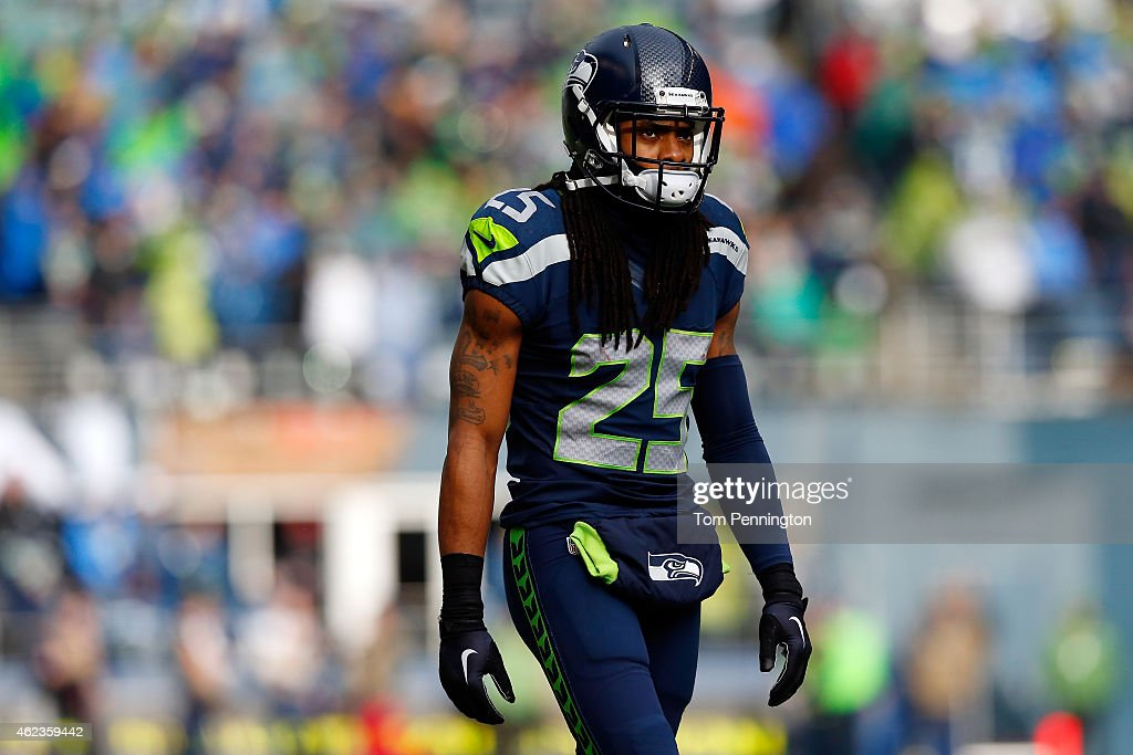 Richard Sherman of the Seattle Seahawks in action against the Green Bay Packers during the 2015 NFC Championship game at CenturyLink Field on January...