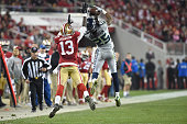 Richard Sherman of the Seattle Seahawks makes an interception in the fourth quarter on a ball intended for Steve Johnson of the San Francisco 49ers...