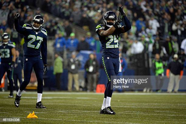 Richard Sherman of the Seattle Seahawks reacts against the Carolina Panthers during the 2015 NFC Divisional Playoff game at CenturyLink Field on...
