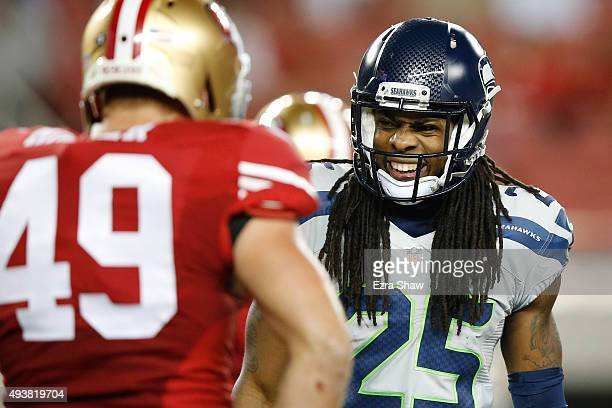 Richard Sherman of the Seattle Seahawks reacts to a play against the San Francisco 49ers during their NFL game at Levi's Stadium on October 22 2015...