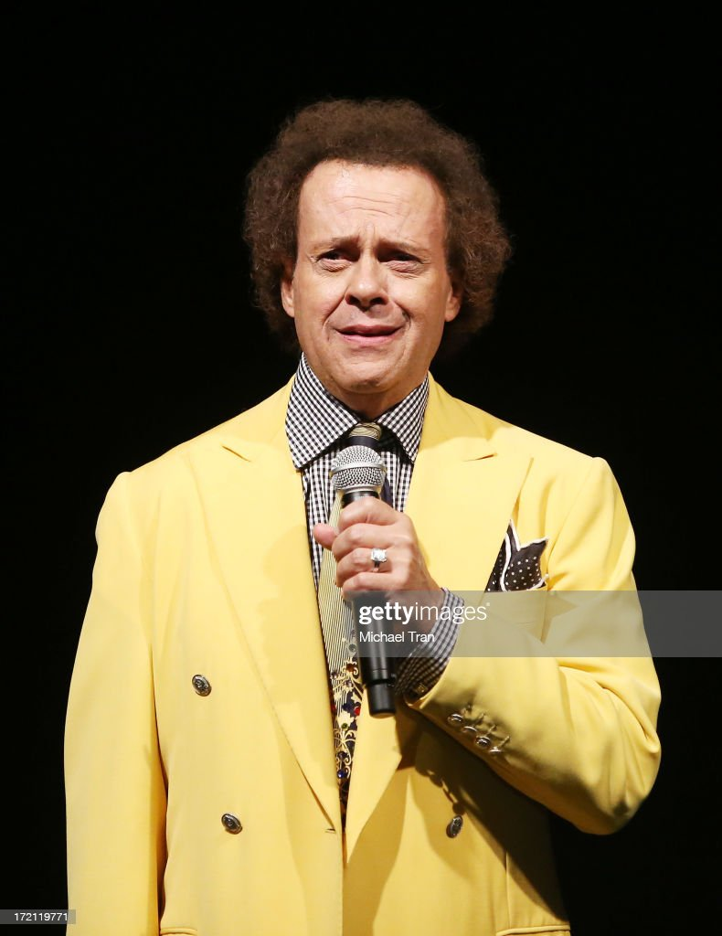 <a gi-track='captionPersonalityLinkClicked' href=/galleries/search?phrase=Richard+Simmons&family=editorial&specificpeople=228501 ng-click='$event.stopPropagation()'>Richard Simmons</a> speaks onstage at the Friend Movement Campaign benefit concert held at El Rey Theatre on July 1, 2013 in Los Angeles, California.