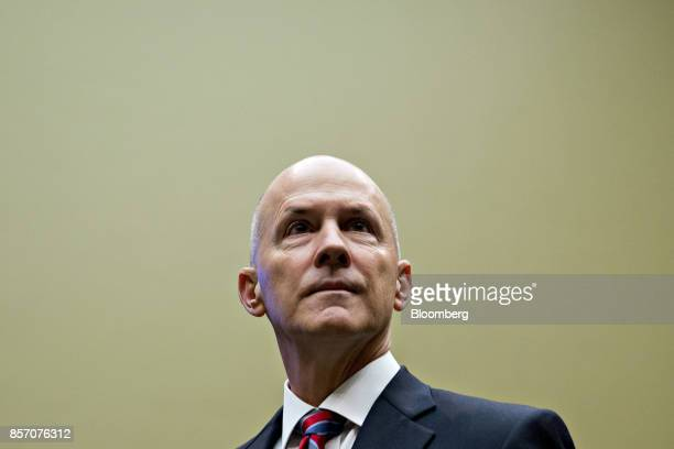Richard Smith former chairman and chief executive officer of Equifax Inc arrives to a House Energy and Commerce Committee hearing in Washington DC US...