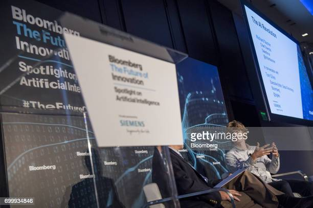 Richard Socher chief scientist of Salesforcecom Inc speaks during the Future of Innovation Spotlight on Artificial Intelligence Conference in San...