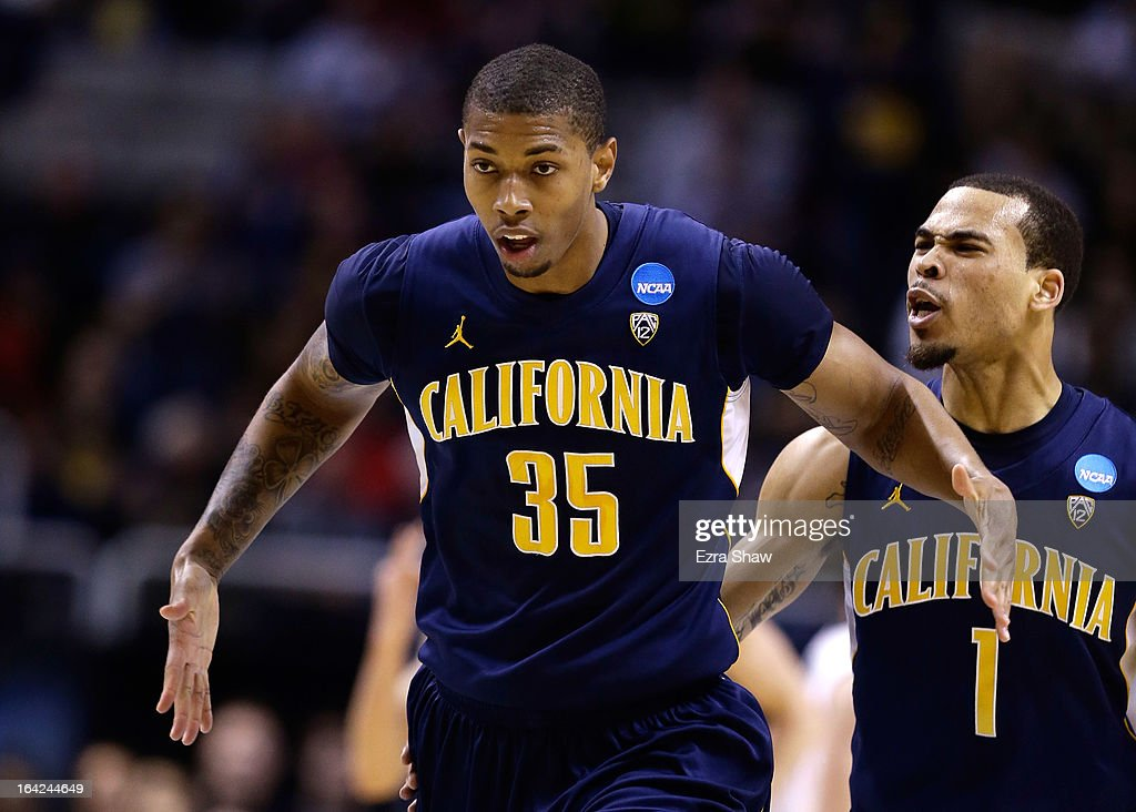 Richard Solomon #35 and Justin Cobbs #1 of the California Golden Bears celebrate after a three point basket by Solomon in the first half against the UNLV Rebels during the second round of the 2013 NCAA Men's Basketball Tournament at HP Pavilion on March 21, 2013 in San Jose, California.