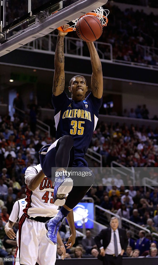 Richard Solomon #35 of the California Golden Bears dunks the ball against the UNLV Rebels in the second half during the second round of the 2013 NCAA Men's Basketball Tournament at HP Pavilion on March 21, 2013 in San Jose, California.