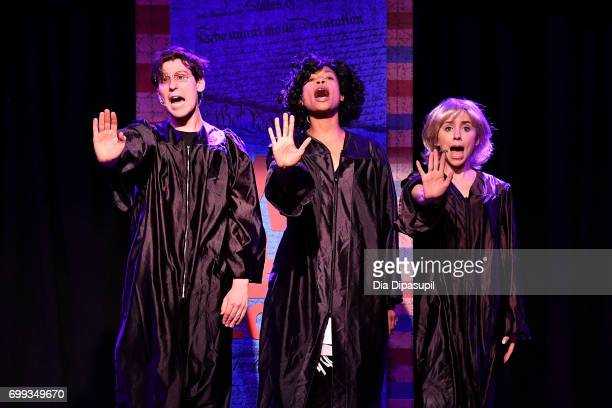 Richard Spitaletta Aiesha Alia Dukes and Mia Weinberger perform onstage during the 'ME THE PEOPLE The Trump America Musical' Press Preview...