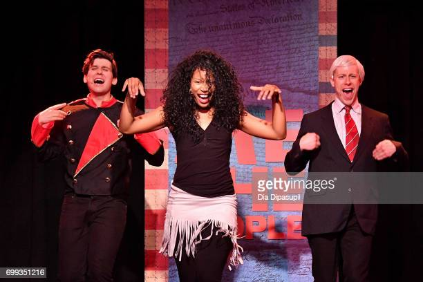 Richard Spitaletta Aiesha Alia Dukes and Mitchel Kawash perform onstage during the 'ME THE PEOPLE The Trump America Musical' Press Preview...