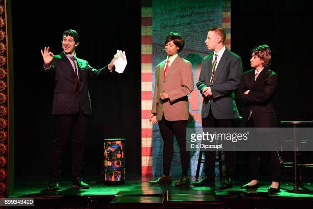 Richard Spitaletta Aiesha Alia Dukes Mitchel Kawash and Mia Weinberger perform onstage during the 'ME THE PEOPLE The Trump America Musical' Press...