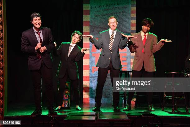 Richard Spitaletta Mia Weinberger Mitchel Kawash and Aiesha Alia Dukes perform onstage during the 'ME THE PEOPLE The Trump America Musical' Press...