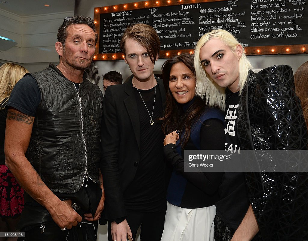 Richard Stark, Gareth Pugh, <a gi-track='captionPersonalityLinkClicked' href=/galleries/search?phrase=Laurie+Lynn+Stark&family=editorial&specificpeople=2697054 ng-click='$event.stopPropagation()'>Laurie Lynn Stark</a> and Carson McCall attend a dinner for Pugh hosted by Chrome Hearts at Malibu Farm on October 10, 2013 in Malibu, California.