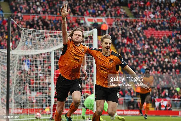 Richard Stearman of Wolverhampton Wanderers celebrates after scoring a goal to make it 01 during The Emirates FA Cup Fourth Round between Liverpool...