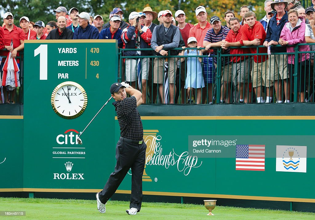 <a gi-track='captionPersonalityLinkClicked' href=/galleries/search?phrase=Richard+Sterne&family=editorial&specificpeople=243113 ng-click='$event.stopPropagation()'>Richard Sterne</a> of South Africa and the International Team hits his tee shot on the first hole during the Day Four Singles Matches at the Muirfield Village Golf Club on October 6, 2013 in Dublin, Ohio.