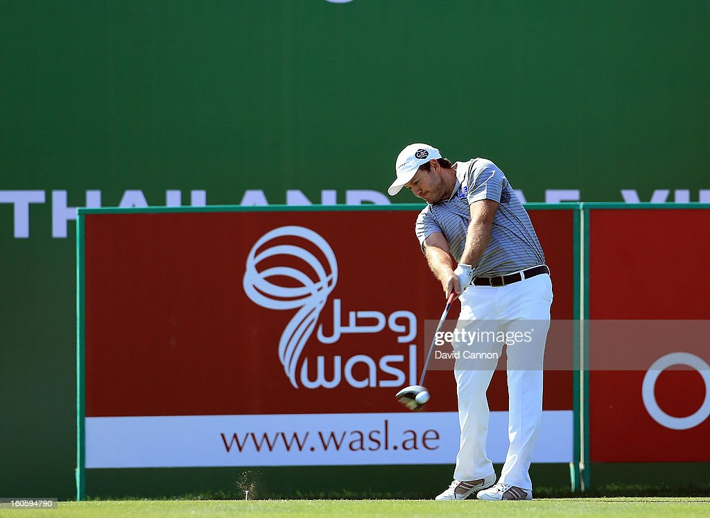 Richard Sterne of South Africa during the final round of the 2013 Omega Dubai Desert Classic on the Majilis Course at the Emirates Golf Club on February 3, 2013 in Dubai, United Arab Emirates.