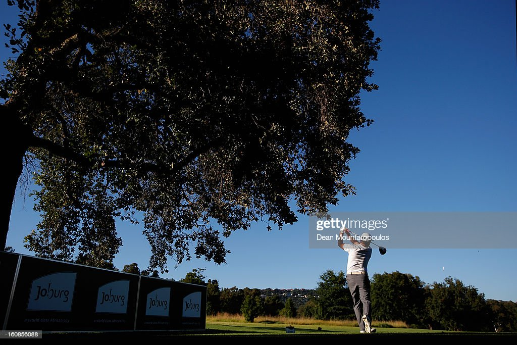 <a gi-track='captionPersonalityLinkClicked' href=/galleries/search?phrase=Richard+Sterne&family=editorial&specificpeople=243113 ng-click='$event.stopPropagation()'>Richard Sterne</a> of South Africa hits his tee shot on the 1st hole during the Day One of the Joburg Open at Royal Johannesburg and Kensington Golf Club on February 7, 2013 in Johannesburg, South Africa.