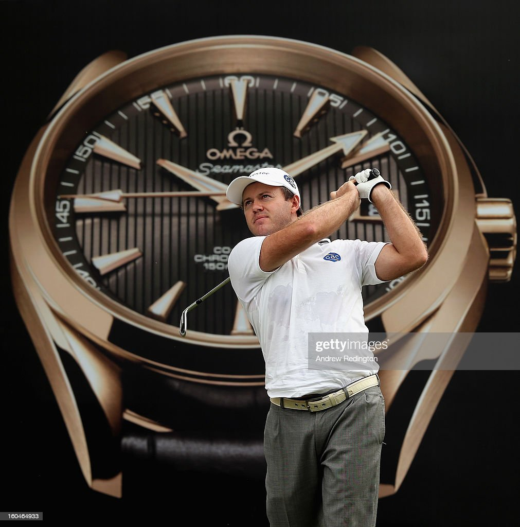 <a gi-track='captionPersonalityLinkClicked' href=/galleries/search?phrase=Richard+Sterne&family=editorial&specificpeople=243113 ng-click='$event.stopPropagation()'>Richard Sterne</a> of South Africa hits his tee-shot on the seventh hole during the second round of the Omega Dubai Desert Classic at Emirates Golf Club on February 1, 2013 in Dubai, United Arab Emirates.