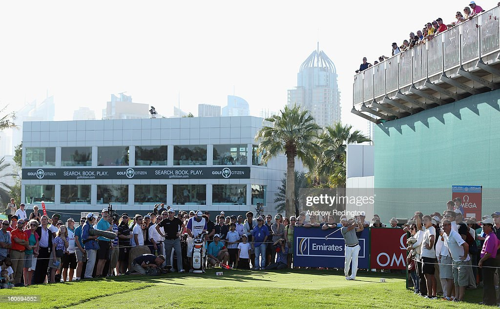 Richard Sterne of South Africa in action during the final round of the Omega Dubai Desert Classic at Emirates Golf Club on February 3, 2013 in Dubai, United Arab Emirates.