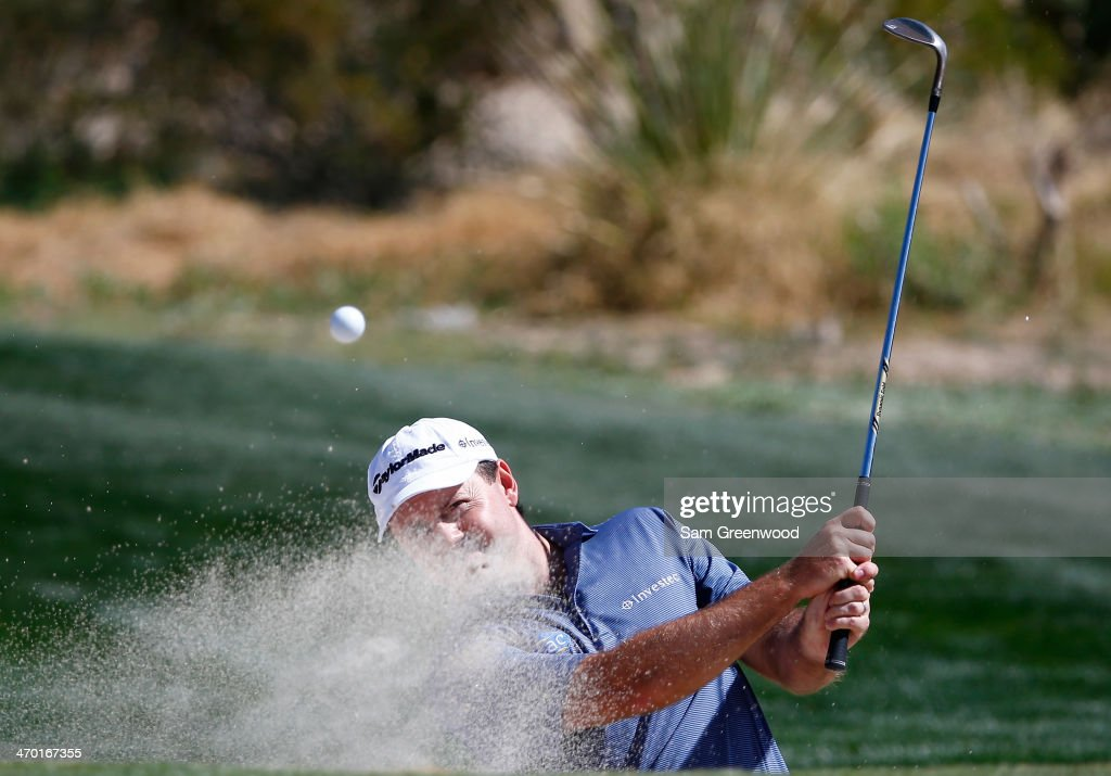 <a gi-track='captionPersonalityLinkClicked' href=/galleries/search?phrase=Richard+Sterne&family=editorial&specificpeople=243113 ng-click='$event.stopPropagation()'>Richard Sterne</a> of South Africa plays a shot during a practice round prior to the World Golf Championships-Accenture Match Play Championship at the Golf Club at Dove Mountain on February 18, 2014 in Marana, Arizona.