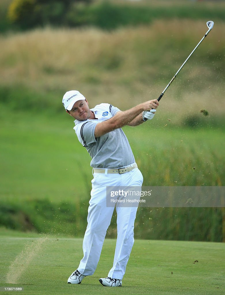 <a gi-track='captionPersonalityLinkClicked' href=/galleries/search?phrase=Richard+Sterne&family=editorial&specificpeople=243113 ng-click='$event.stopPropagation()'>Richard Sterne</a> of South Africa plays into the 10th green during the third round of the Alstom Open de France at Le Golf National on July 6, 2013 in Paris, France.