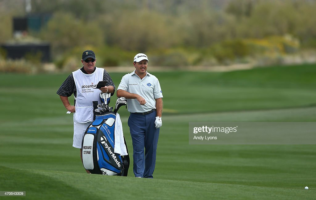 <a gi-track='captionPersonalityLinkClicked' href=/galleries/search?phrase=Richard+Sterne&family=editorial&specificpeople=243113 ng-click='$event.stopPropagation()'>Richard Sterne</a> of South Africa waits to play a fairway shot on the second hole during the first round of the World Golf Championships - Accenture Match Play Championship at The Golf Club at Dove Mountain on February 19, 2014 in Marana, Arizona.