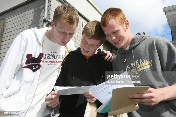 Richard Stevenson Neil O'Donnell and Colin Broderick pictured outside Secondary School Ardscoil Ris on Griffith Avenue Dublin opening their results...