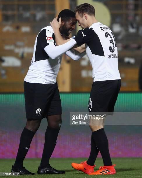 Richard SukutaPasu of Sandhausen celebrates his team's first goal with team mate Tim Knipping during the Second Bundesliga match between SV Darmstadt...