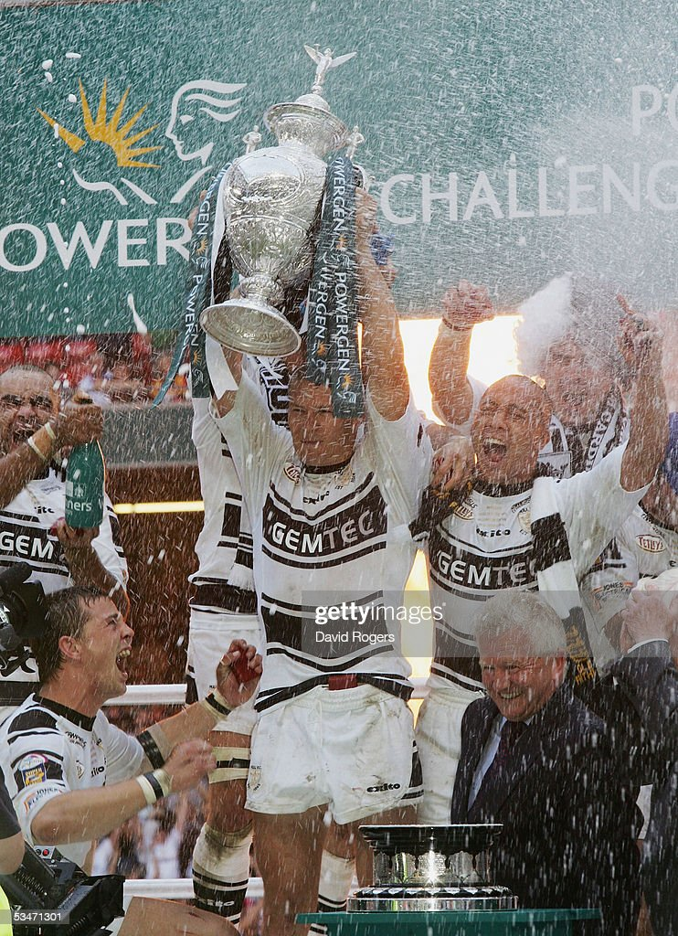 Richard Swain the Hull captain raises the trophy after his side win the Powergen Challenge Cup Final between Hull FC and Leeds Rhinos at the...
