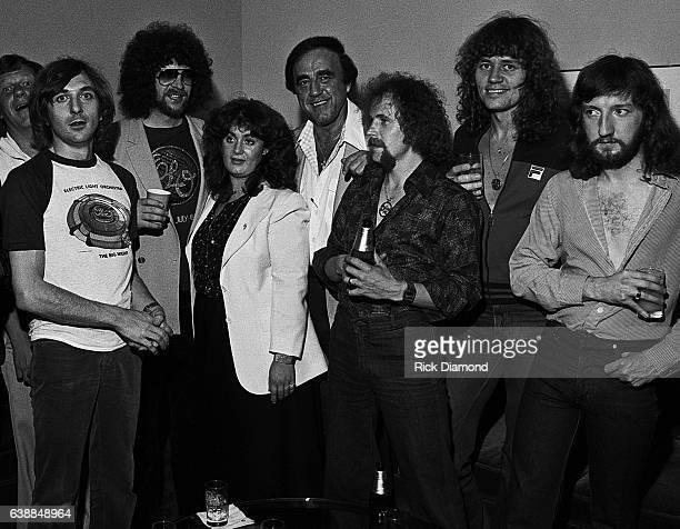 Richard Tandy ELO Jeff Lynne ELO Guest Guest Kelly Groucutt ELO Bev Bevan ELO and Mik Kaminski of ELO attend ELO press reception at the Peachtree...