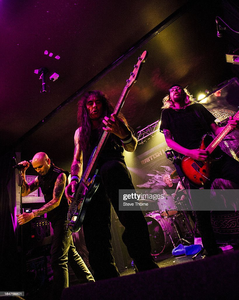 Richard Taylor, Steve Harris and Grahame Leslie of British Lion perform on stage on March 27, 2013 in Birmingham, England.