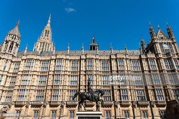 Richard the Lionheart statue outside the Houses of Parliament London UK
