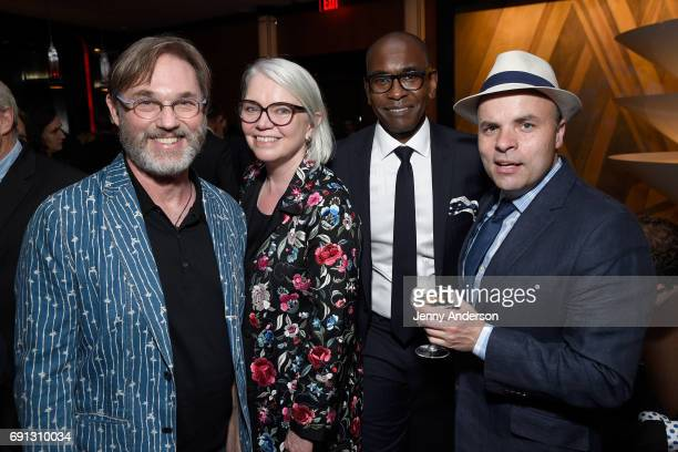 Richard Thomas Susan Hilferty Paul Taswell and JT Rogers attend Designed To Celebrate A Toast To The 2017 Tony Awards Creative Arts Nominees at The...