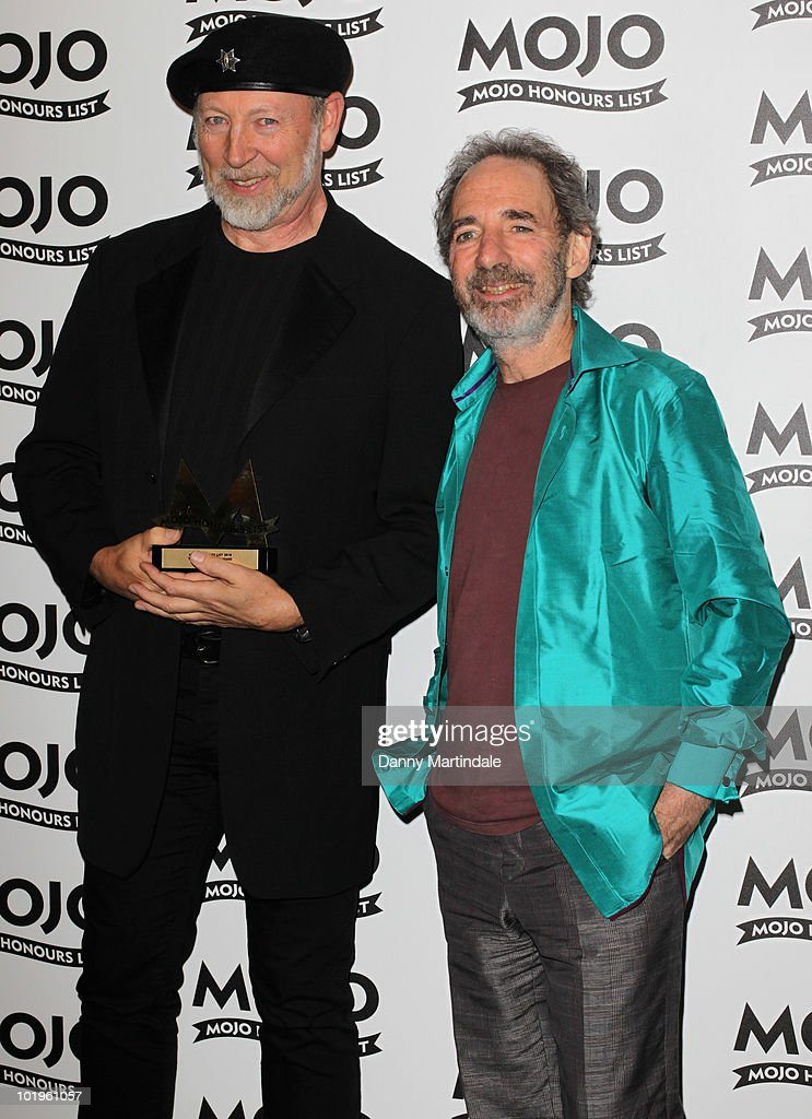Richard Thompson with award and <a gi-track='captionPersonalityLinkClicked' href=/galleries/search?phrase=Harry+Shearer&family=editorial&specificpeople=693381 ng-click='$event.stopPropagation()'>Harry Shearer</a> at The Mojo Honours List at The Brewery on June 10, 2010 in London, England.