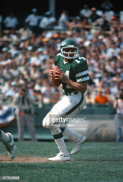 Richard Todd of the New York Jets drops back to pass against the Detroit Lions during an NFL football game September 16 1979 at Shea Stadium in the...