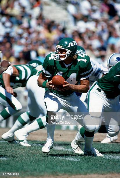 Richard Todd of the New York Jets turns to hand the ball off against the Detroit Lions during an NFL football game September 16 1979 at Shea Stadium...