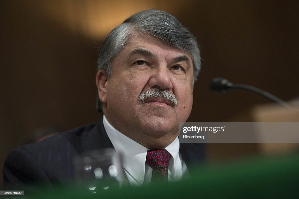 <a gi-track='captionPersonalityLinkClicked' href=/galleries/search?phrase=Richard+Trumka&family=editorial&specificpeople=2701507 ng-click='$event.stopPropagation()'>Richard Trumka</a>, president of the AFL-CIO, listens during a Senate Environment and Public Works Committee hearing in Washington, D.C., U.S., on Wednesday, Feb. 12, 2014. The hearing was titled 'MAP-21 Reauthorization: The Economic Importance of Maintaining Federal Investments in our Transportation Infrastructure.' Photographer: Andrew Harrer/Bloomberg via Getty Images