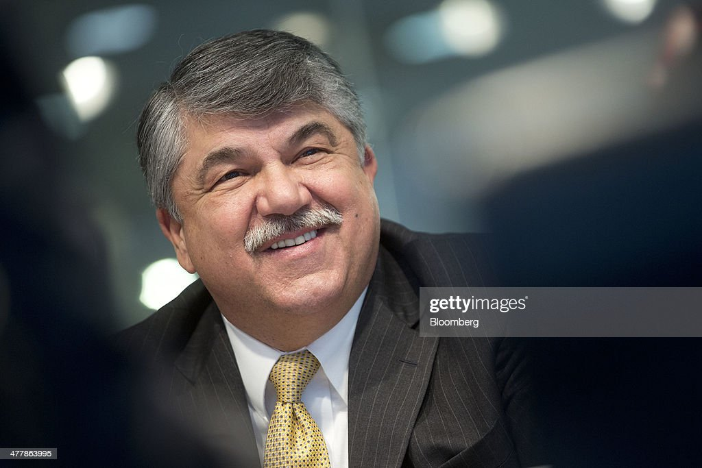 <a gi-track='captionPersonalityLinkClicked' href=/galleries/search?phrase=Richard+Trumka&family=editorial&specificpeople=2701507 ng-click='$event.stopPropagation()'>Richard Trumka</a>, president of the AFL-CIO, smiles during an interview in Washington, D.C., U.S., on Tuesday, March 11, 2014. Trumka said the AFL-CIO hasn't given up on key 2014 policy priorities despite inaction in Congress including a pending measure to raise the nation's minimum wage to $10.10 an hour and a long-term bill funding highway construction and mass transit. Photographer: Andrew Harrer/Bloomberg via Getty Images