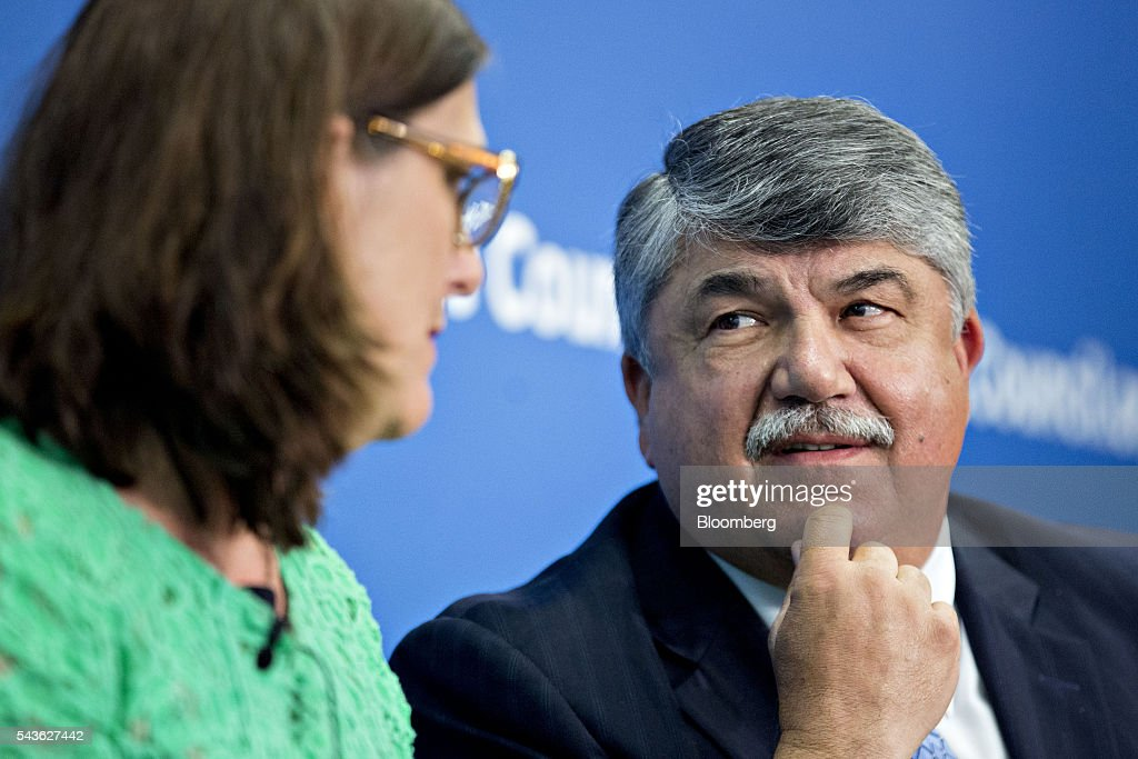 <a gi-track='captionPersonalityLinkClicked' href=/galleries/search?phrase=Richard+Trumka&family=editorial&specificpeople=2701507 ng-click='$event.stopPropagation()'>Richard Trumka</a>, president of the AFL-CIO, speaks during a panel discussion on the Transatlantic Trade and Investment Partnership (TTIP) with Cecilia Malmstrom, European Union (EU) trade commissioner, left, at the Atlantic Council in Washington, D.C., U.S., on Wednesday, June 29, 2016. Malmstroem said this week the EU will pursue its trade talks with the U.S. and other partners even as the U.K. negotiates an exit from the bloc. Photographer: Andrew Harrer/Bloomberg via Getty Images