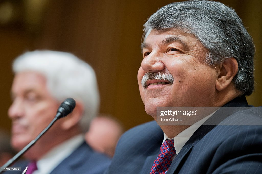 <a gi-track='captionPersonalityLinkClicked' href=/galleries/search?phrase=Richard+Trumka&family=editorial&specificpeople=2701507 ng-click='$event.stopPropagation()'>Richard Trumka</a>, right, president of the AFL-CIO, and Thomas Donohue, president and CEO of the U.S. Chamber of Commerce, prepare to testify before a Senate Finance Committee hearing in Dirksen Building titled 'Congress and U.S. Tariff Policy,' April 21, 2015.