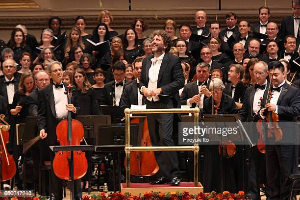 Richard Tucker Gala at Carnegie Hall on Sunday night October 30 2016 This image The conductor Asher Fisch with members of the Metropolitan Opera...