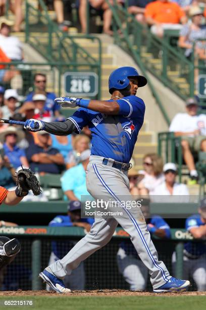 Richard Urena of the Blue Jays at bat during the spring training game between the Toronto Blue Jays and the Baltimore Orioles on March 08 2017 at Ed...