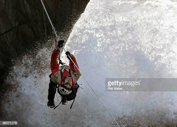 Richard Ussher from the New Zealand team Balance Vector rock climbs on the Charleston Clifts overlooking the Tasman Sea on the fifth day of the...