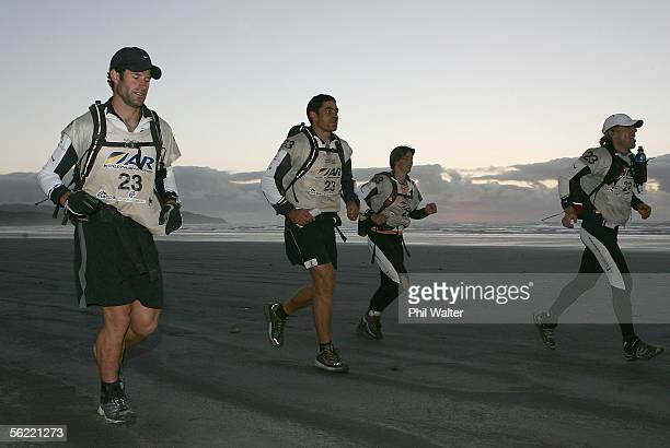 Richard Ussher Nathan Fa'avae Kristina Anglem and Marcel Hagener from the New Zealand team Balance Vector run down Nine Mile beach on the fifth day...